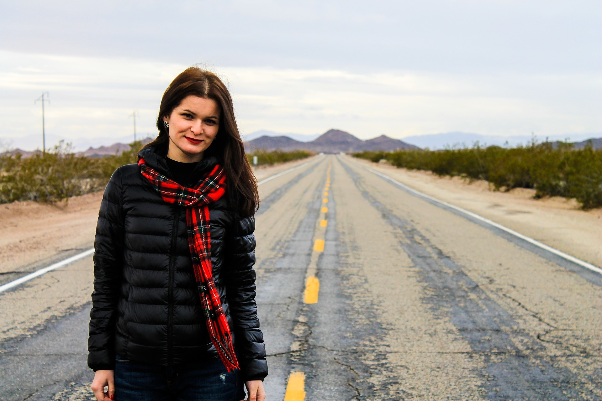 woman standing on Route 66